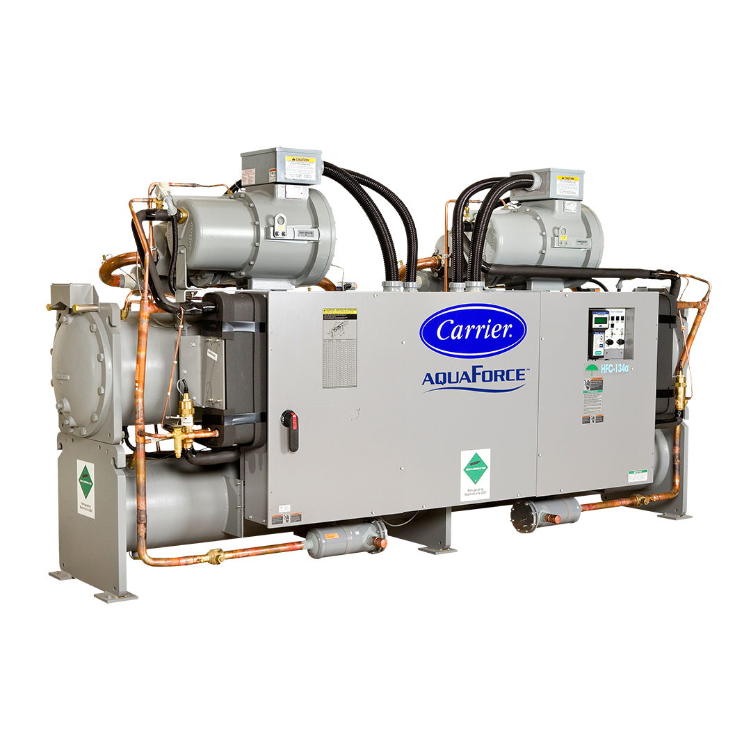 The 30HX units are high-efficiency, indoor water-cooled or condenserless chillers.