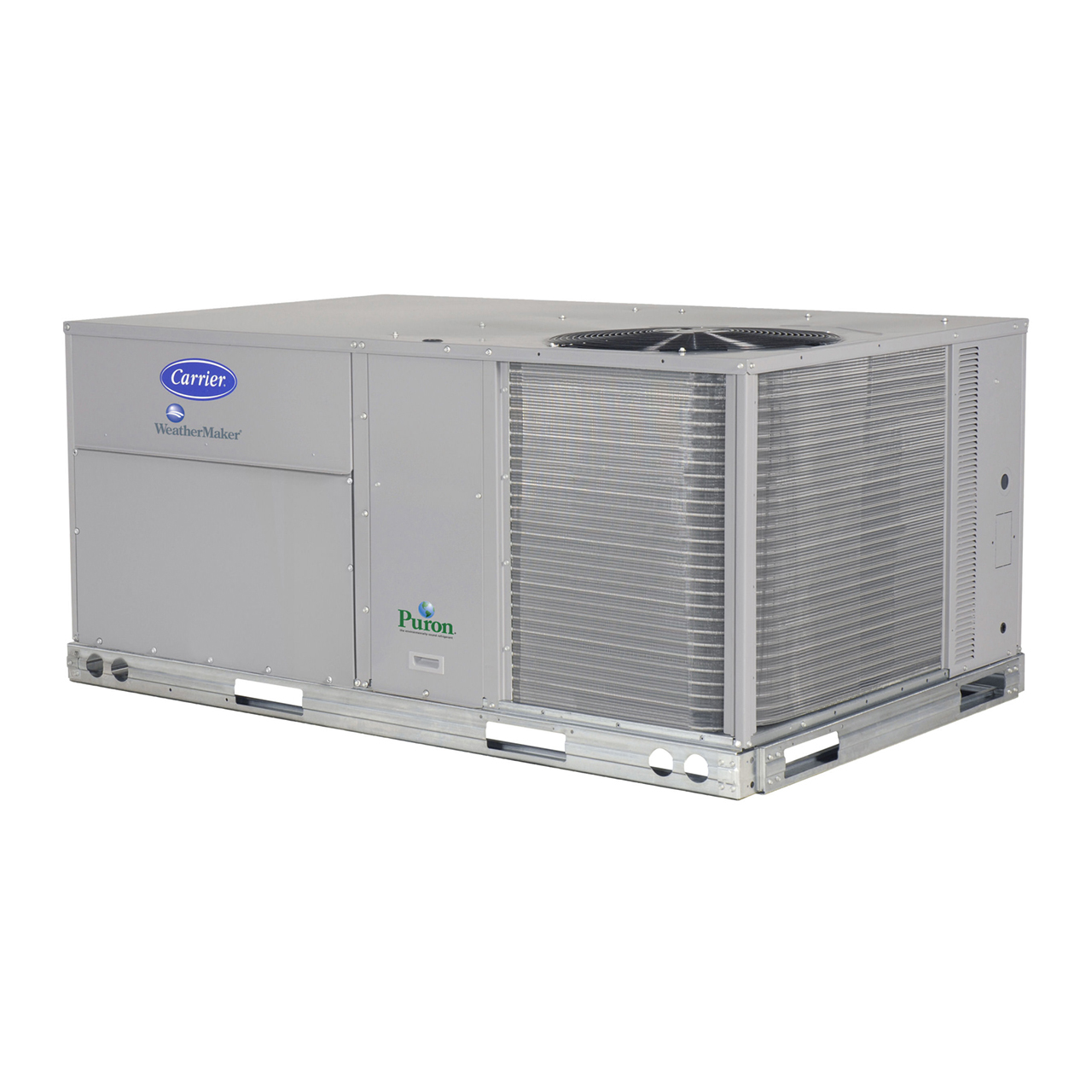 """WeatherMaker® 50KCQ rooftop units were designed to be easy to install, maintain, and operate, with customer-requested features including a gage port, centralized control center, plug-and-play accessory board, """"no-strip screw"""" collars, and handled access panels."""