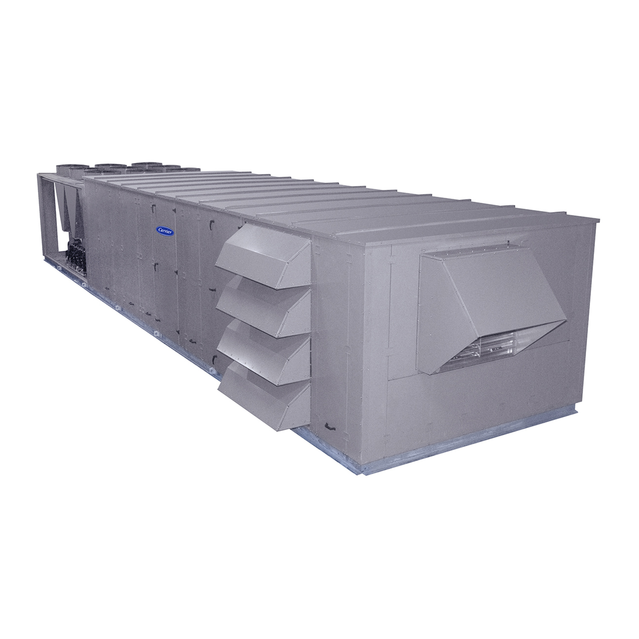 Carrier N Series rooftop units are pre-wired and factory-tested in both cooling and heating modes. All 50N models feature a double wall foam panel cabinet design with hinged man-sized access panels.