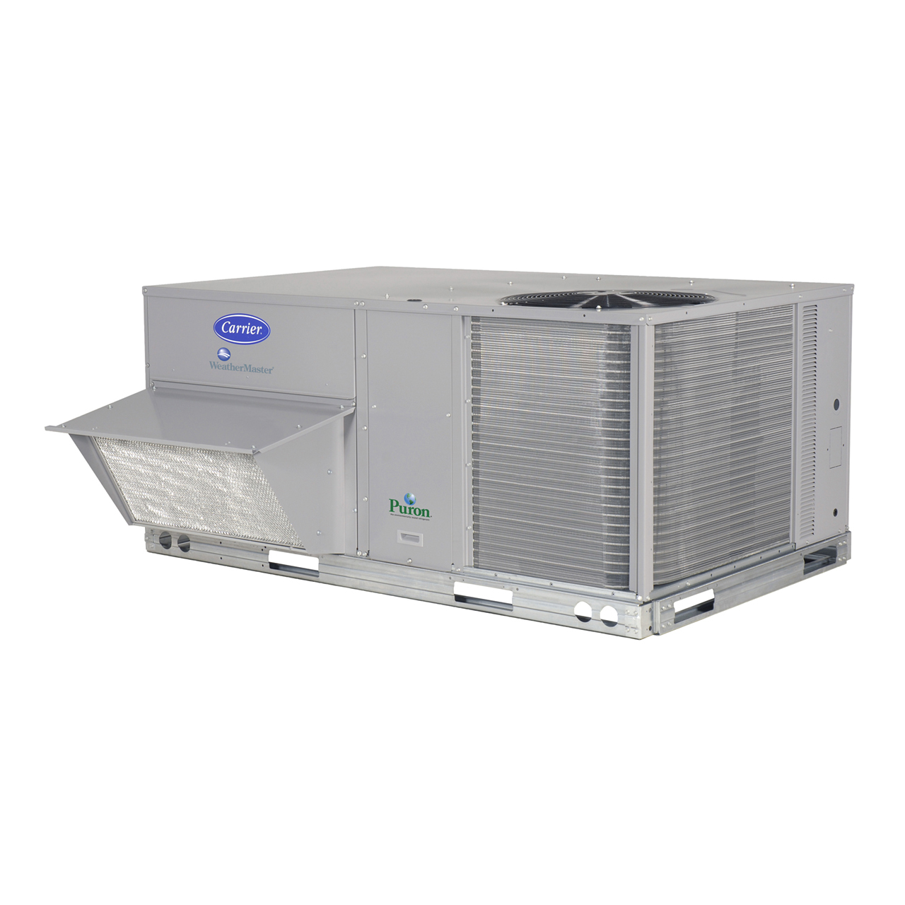 "WeatherMaster® 50HCQ rooftop units were designed to be easy to install, maintain, and operate, with customer-requested features including a gage port, centralized control center, plug-and-play accessory board, ""no-strip screw"" collars, and handled access panels."