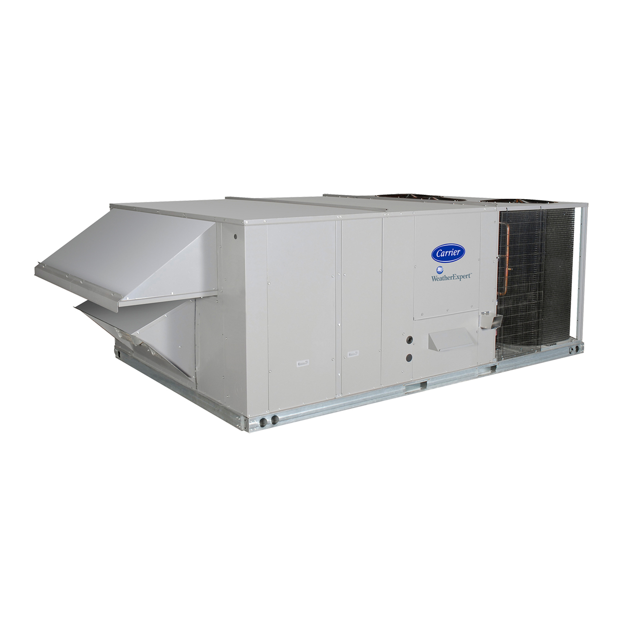 "WeatherMaker® 50TCQ rooftop units were designed to be easy to install, maintain, and operate, with customer-requested features including a gage port, centralized control center, plug-and-play accessory board, ""no-strip screw"" collars, and hinged access panels."